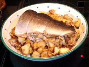Caramelized Onion and Fennel Stuffed Salmon on a Bed of Rosemary Potato